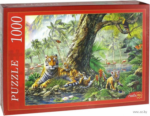 """Пазл """"Тигры под деревом"""" (1000 элементов) — фото, картинка"""