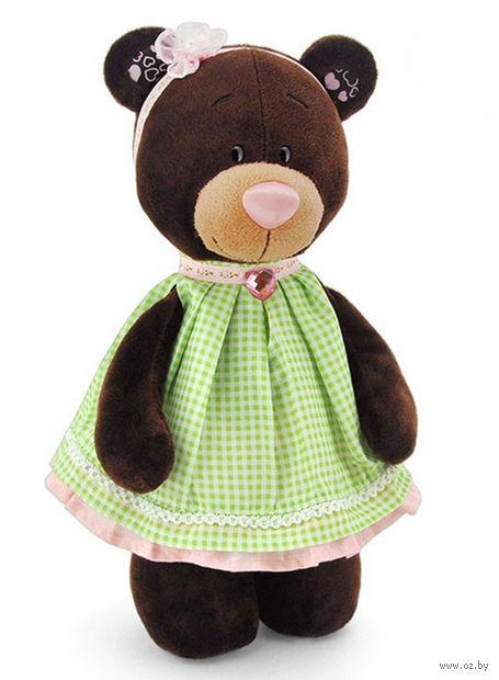 """Мягкая игрушка """"Медведь Milk в платье в клеточку"""" (30 см)"""