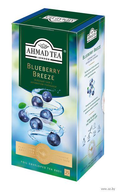 """Чай зеленый """"Ahmad Tea. С голубикой"""" (25 пакетиков; саше) — фото, картинка"""