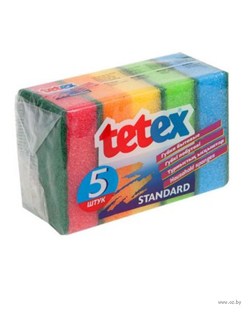 """Губка для мытья посуды """"Tetex"""" (5 шт.; 95х65х33 мм) — фото, картинка"""