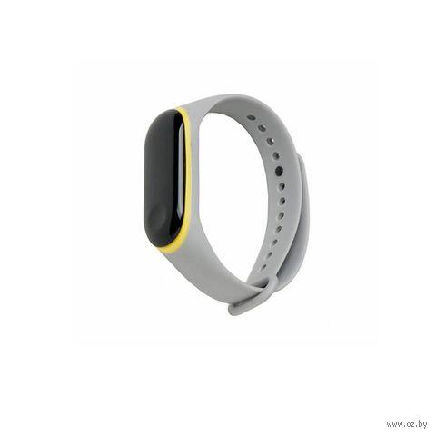 Ремешок для Xiaomi Mi Band 3 и Mi Band 4 (серый с жёлтым) — фото, картинка
