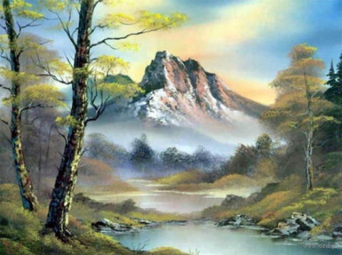 """Алмазная вышивка-мозаика """"Горный пейзаж"""" (500х370 мм) — фото, картинка"""
