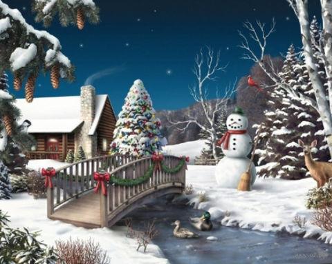 """Алмазная вышивка-мозаика """"Новый год в деревне"""""""