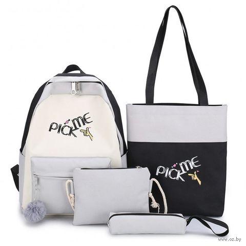 "Комплект рюкзак, шоппер, косметичка, пенал ""Pick me"" (серый; арт. KW102-000597) — фото, картинка"