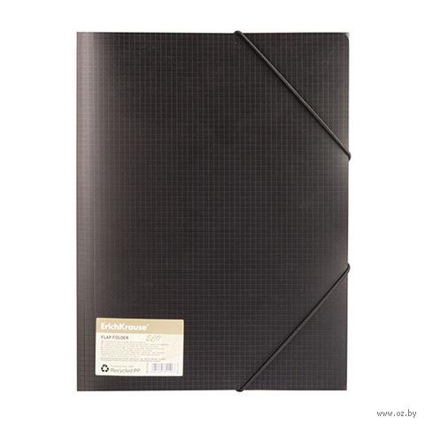 """Папка с тремя клапанами на резинках """"ECO4"""" (A4; 19 мм; черная)"""