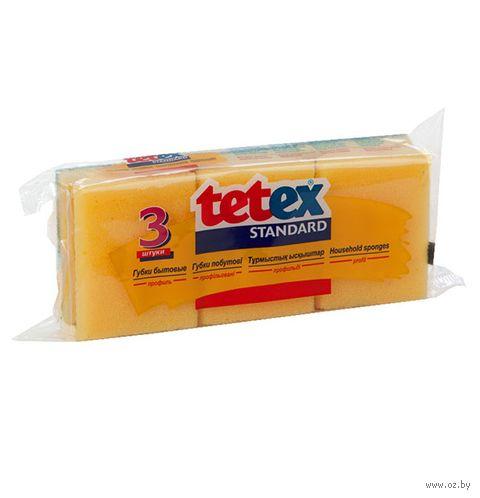 """Губка для мытья посуды """"Tetex"""" (3 шт.; 85х65х41 мм) — фото, картинка"""
