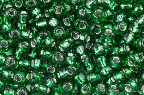 Бисер прозрачный с серебристым центром №27B (зеленый; 6/0) — фото, картинка