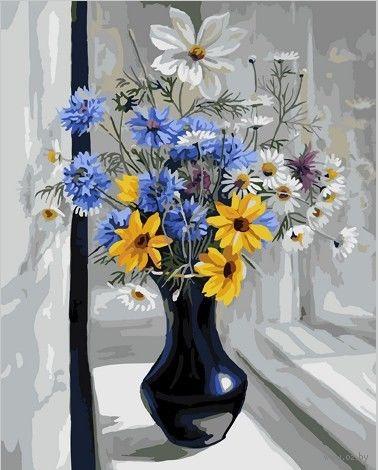 "Картина по номерам ""Букет на окне"" (500х650 мм) — фото, картинка"