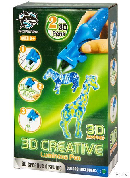 """3D ручка детская """"Rich Fish Toys"""" (зелёная+синяя; люменисцентные) — фото, картинка"""