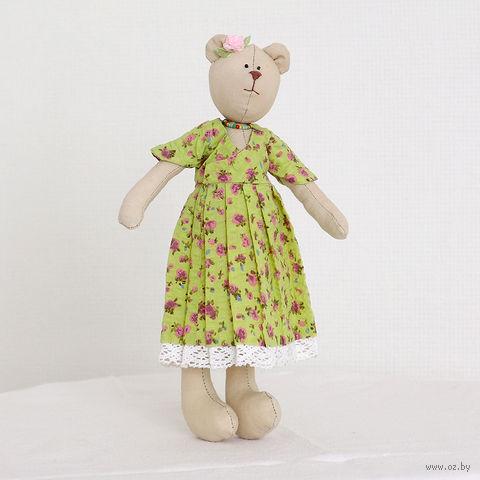 """Кукла ручной работы """"Мишка"""" (девушка в желтом платье в цветочек)"""