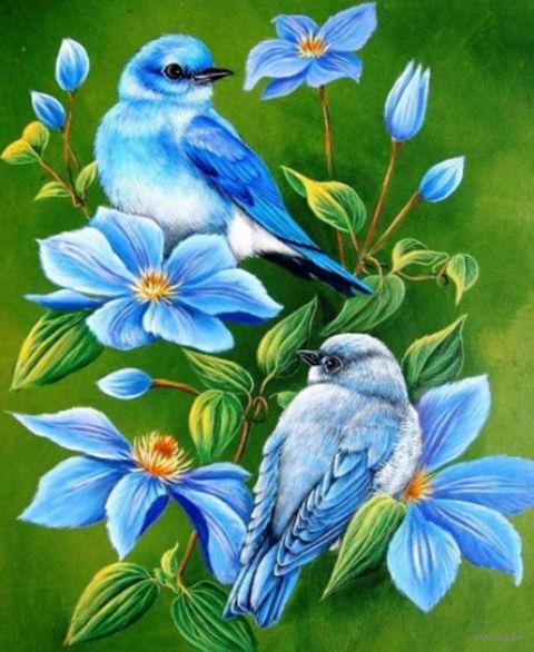 "Алмазная вышивка-мозаика ""Птицы на ветке"" (400х500 мм) — фото, картинка"