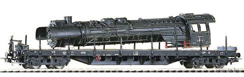"Модель вагона ""Платформа Rgs3910 с корпусом паровоза"" (масштаб: 1/87) — фото, картинка"
